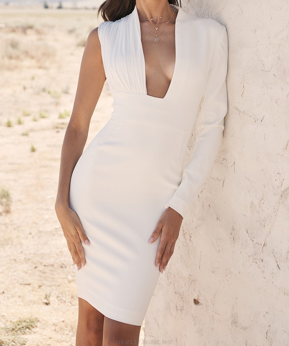 Herve Leger White One Sleeve Plunge V Neck Dress
