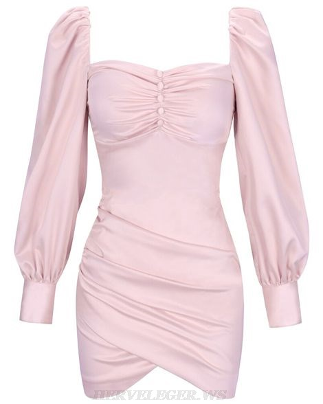 Herve Leger Pink Puff Long Sleeve Draped Dress
