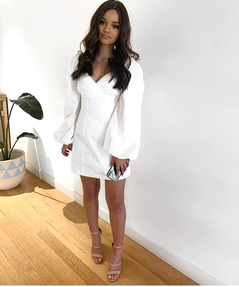 Herve Leger White Puff Long Sleeve Dress