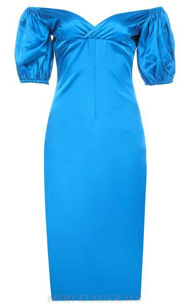 Herve Leger Blue V Neck Puff Sleeve Bardot Satin Dress