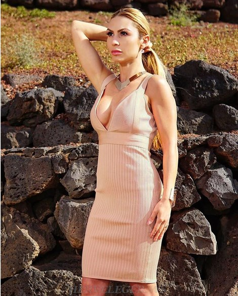 Herve Leger Nude Ribbed Plunge V Neck Dress