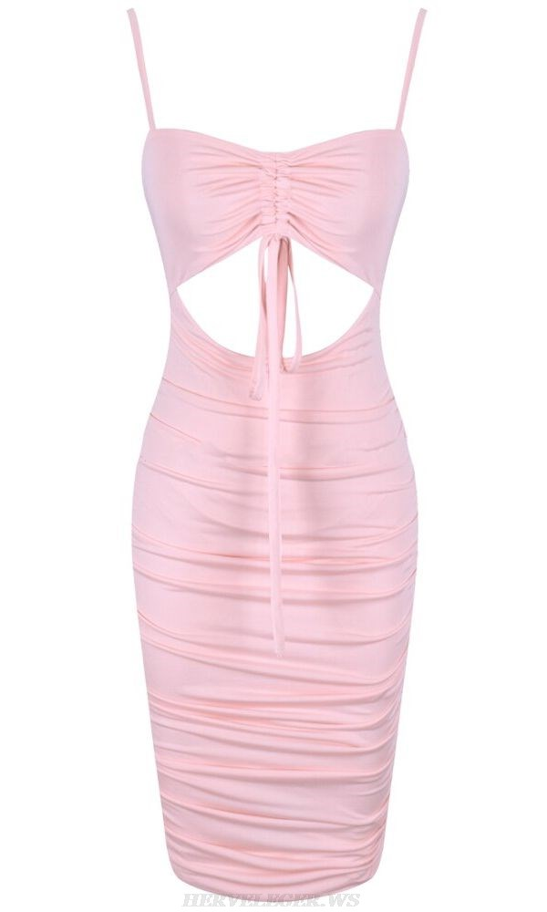 Herve Leger Pink Ruched Cut Out Dress