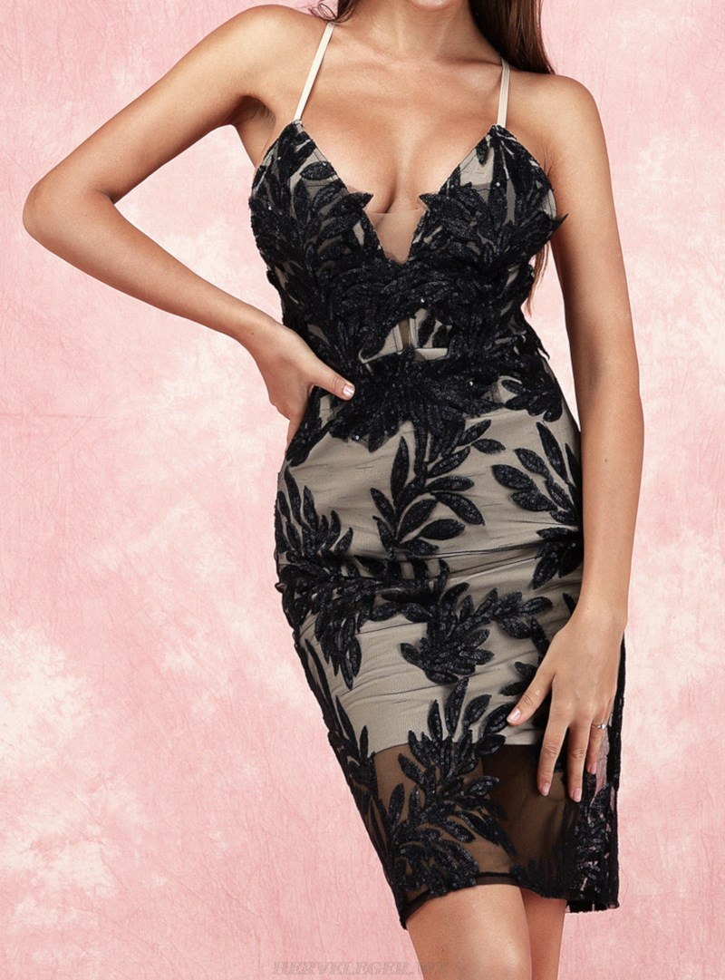 Herve Leger Black Sequin Lace Backless Dress