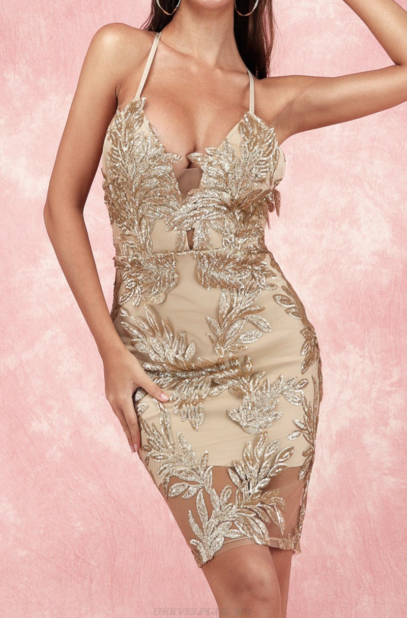 Herve Leger Nude Sequin Lace Backless Dress