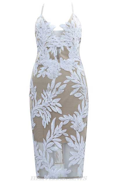 Herve Leger White Sequin Lace Backless Dress