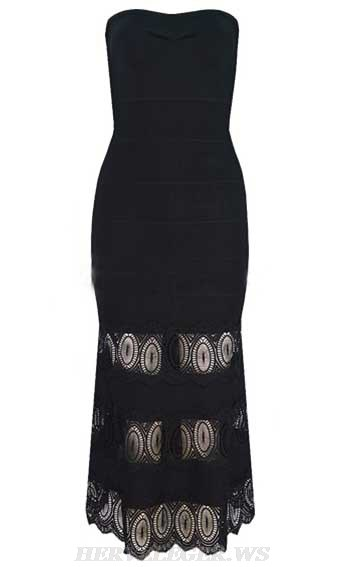 Herve Leger Black Strapless Lace Dress