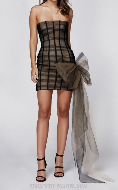 Herve Leger Brown Strapless Ruched Mesh Dress