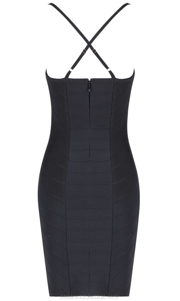 Herve Leger Black V Neck Structured Cross Back Dress