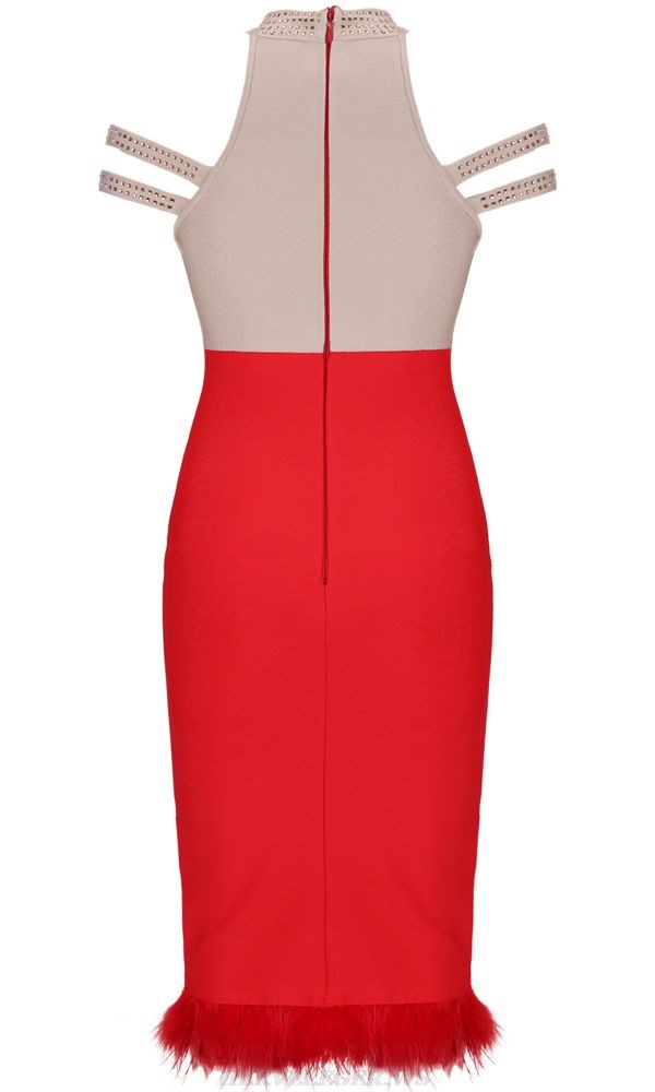Herve Leger Nude Red Studded Dress