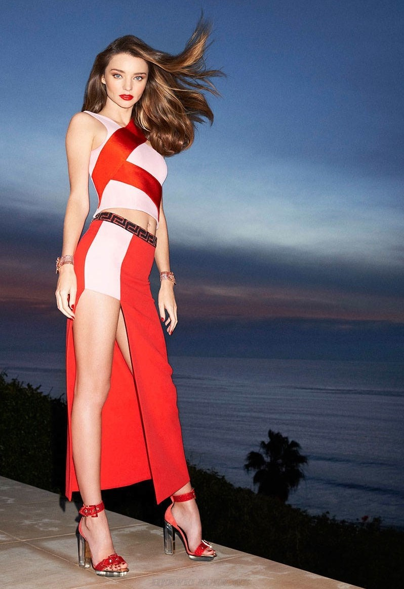 Herve Leger Red White Two Piece Gown