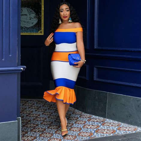 Herve Leger Orange Blue White Bardot Fluted Bandage Dress
