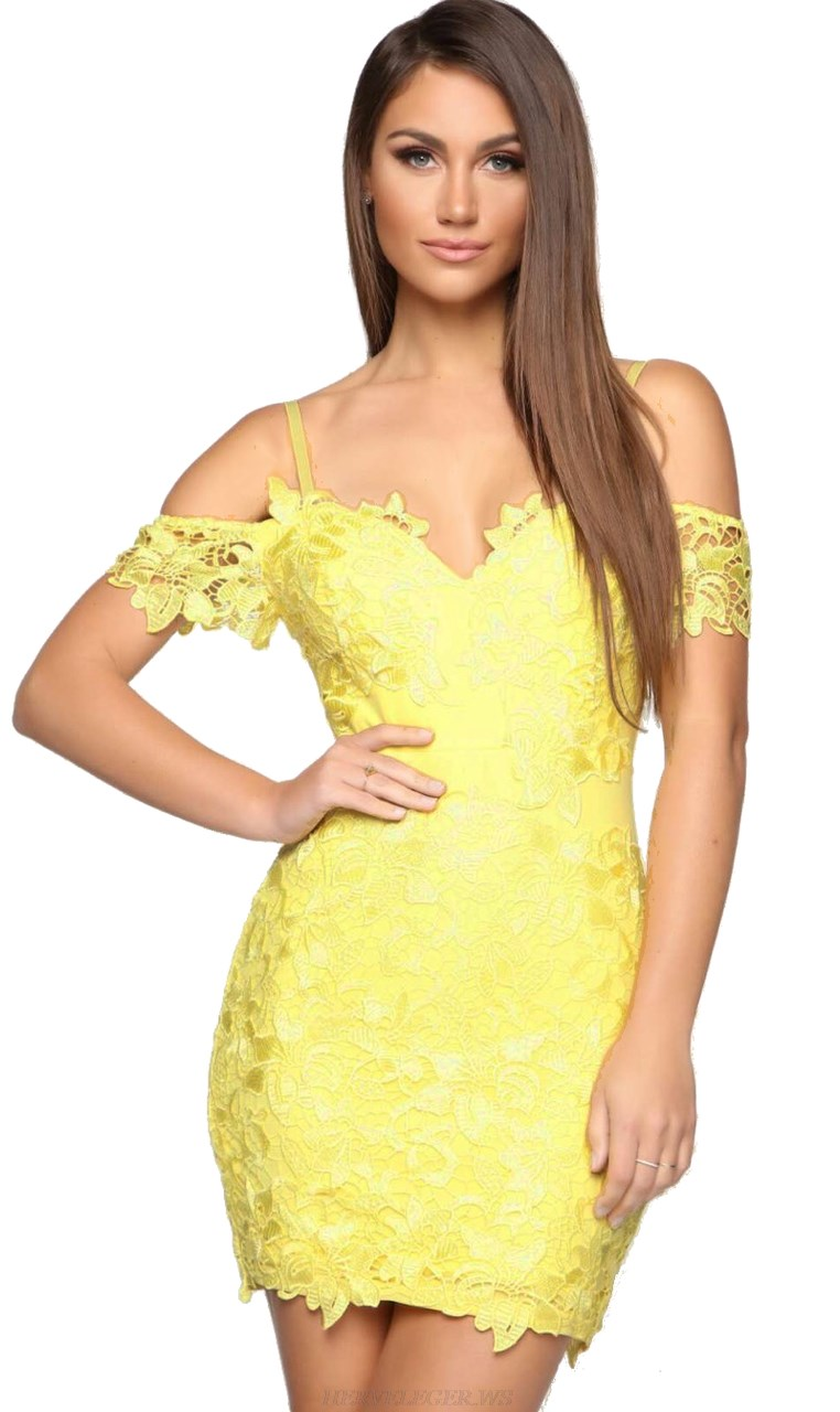 Herve Leger Yellow Bardot Lace Dress