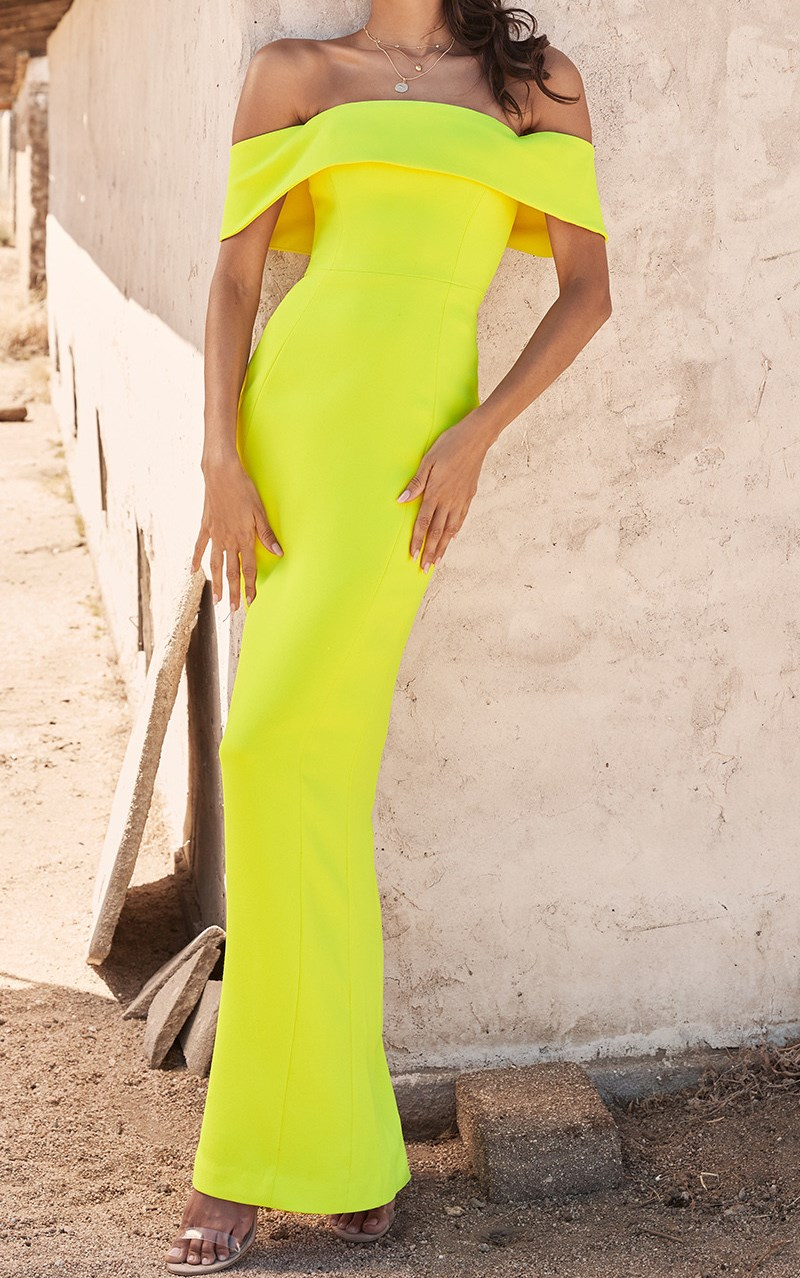 Herve Leger Yellow Straples Bardot Gown