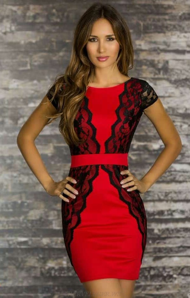 Herve Leger Black Red Cap Sleeve Lace Dress