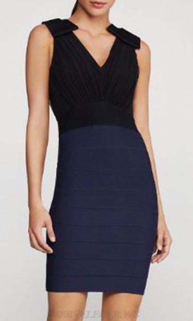 Herve Leger Black Blue Colorblock Bandage Dress