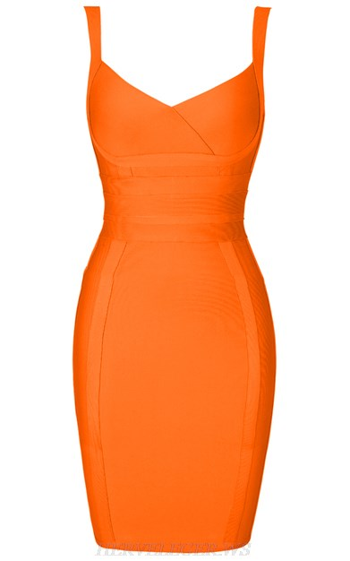 Herve Leger Orange Cross Over Dress