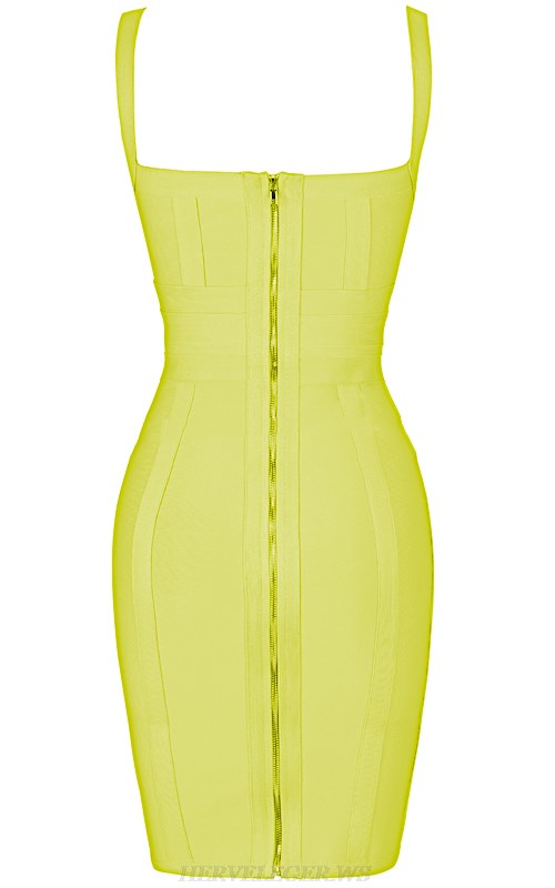 Herve Leger Yellow Cross Over Bandage Dress