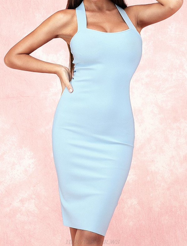 Herve Leger Blue Halter Basic Dress