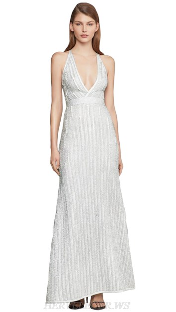 Herve Leger Silver White Halter Mermaid Gown
