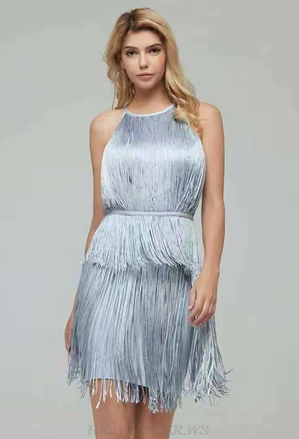 Herve Leger Silver Grey Halter Tassel Dress