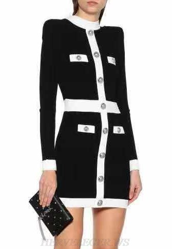 Herve Leger Black White Long Sleeve Button Dress