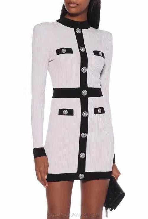 Herve Leger White Black Long Sleeve Button Dress