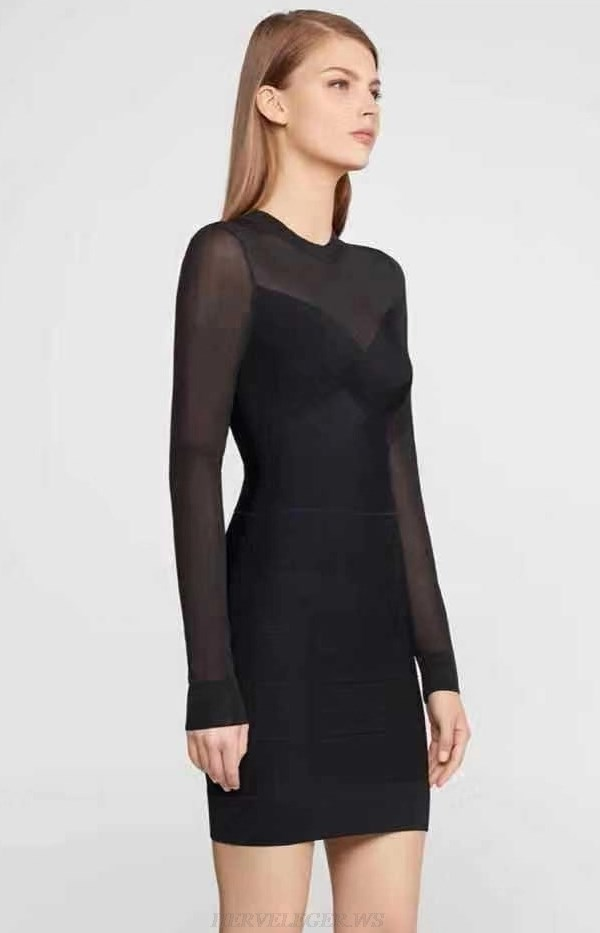Herve Leger Black Long Sleeve Mesh Dress