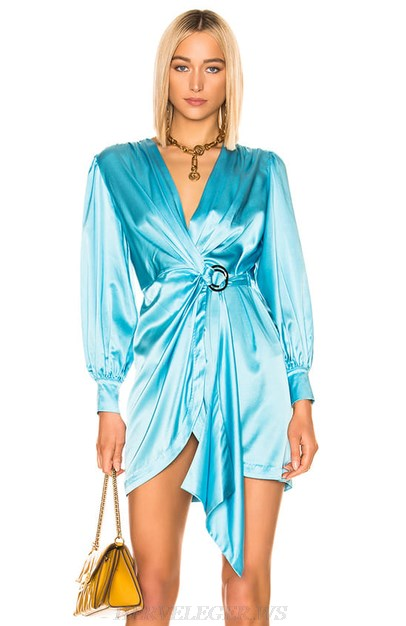 Herve Leger Blue Long Sleeve Satin Dress