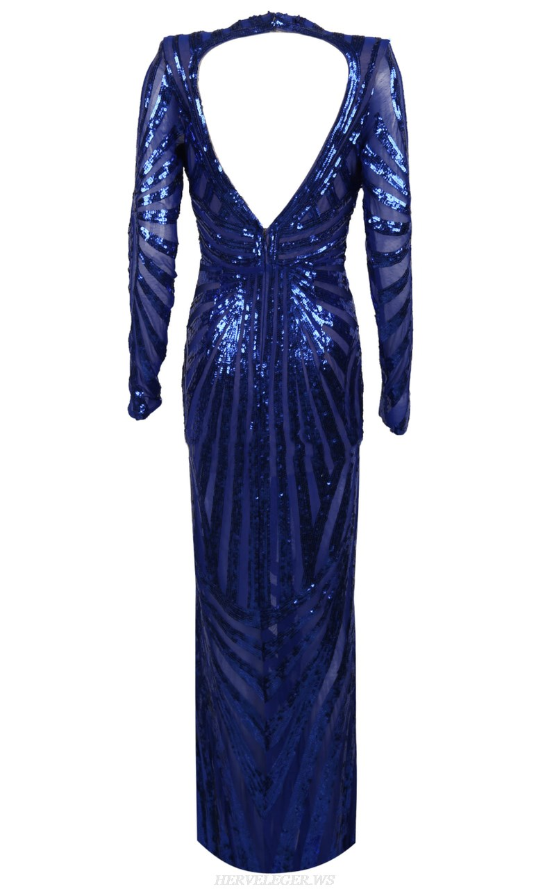 Herve Leger Blue Long Sleeve Sequin Gown
