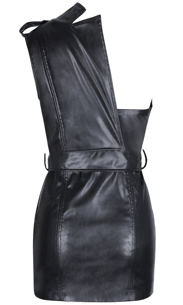 Herve Leger Black One Shoulder Faux Leather Dress