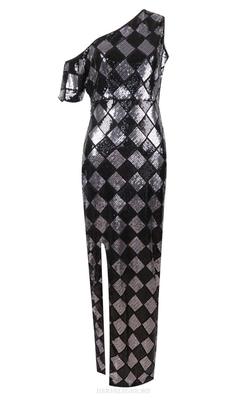 Herve Leger Black Silver One Shoulder Sequin Gown