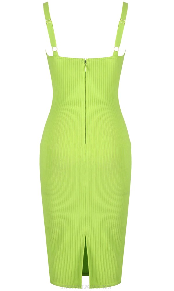 Herve Leger Neon Green Ribbed Dress