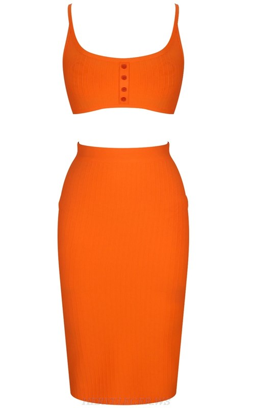 Herve Leger Orange Ribbed Two Piece Dress