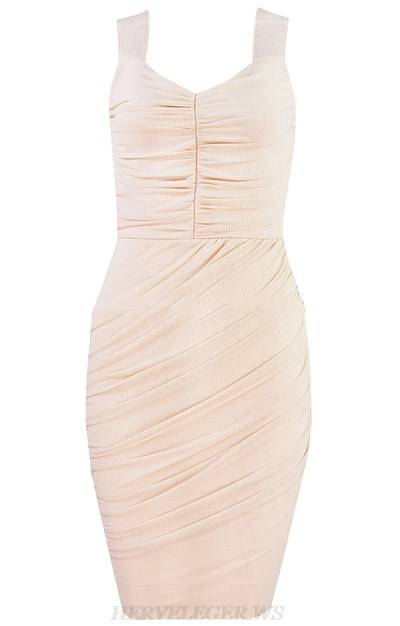 Herve Leger Nude Ruched Dress