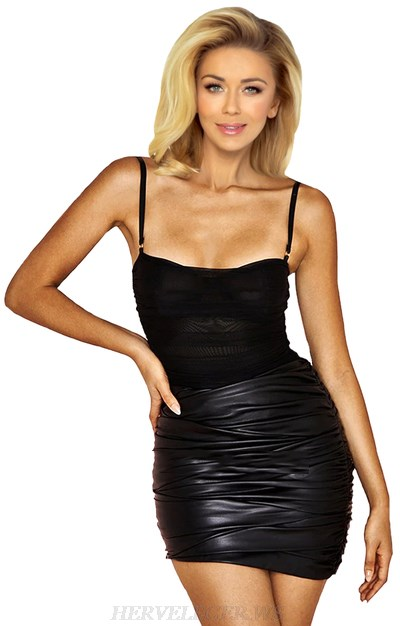 Herve Leger Black Ruched Faux Leather Dress
