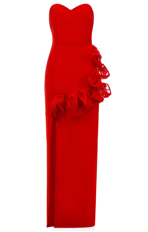 Herve Leger Red Strapless Lace Gown