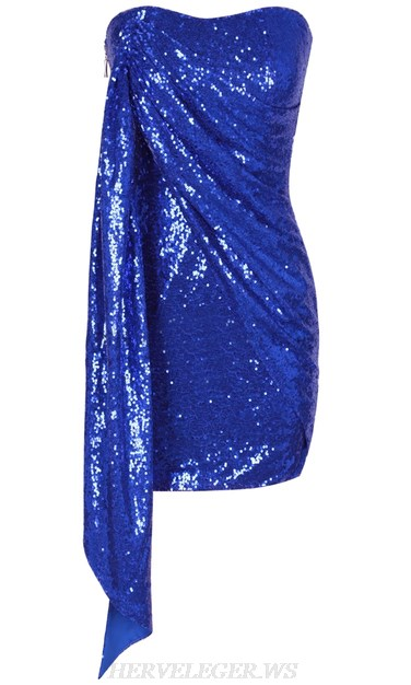 Herve Leger Blue Strapless Ruched Sequin Dress