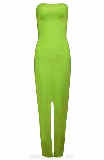 Herve Leger Neon Green Strapless Slit Gown