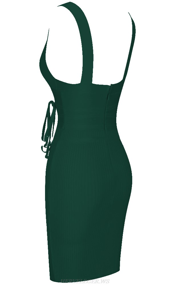 Herve Leger Dark Green V Neck Tie Ribbed Dress