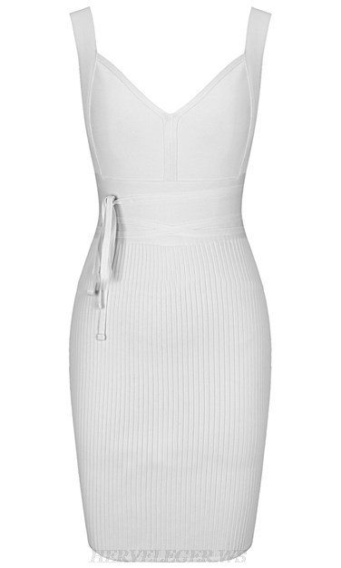 Herve Leger White V Neck Tie Ribbed Dress