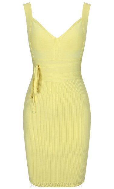 Herve Leger Yellow V Neck Tie Ribbed Dress