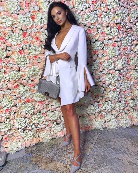 Herve Leger White Deep V Trumpet Sleeve Blazer Dress