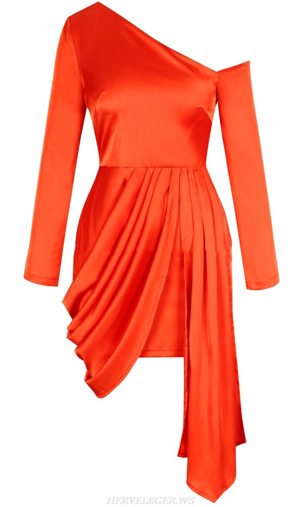 Herve Leger Orange Long Sleeve Draped Satined Dress