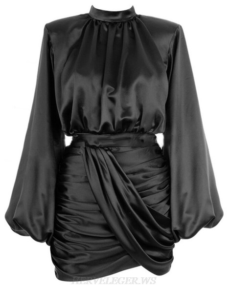 Herve Leger Black Long Sleeve Ruched Satined Dress