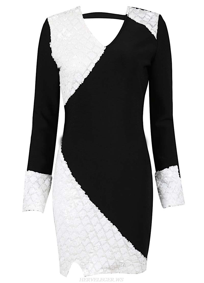 Herve Leger Black And White Long Sleeve Sequin Dress