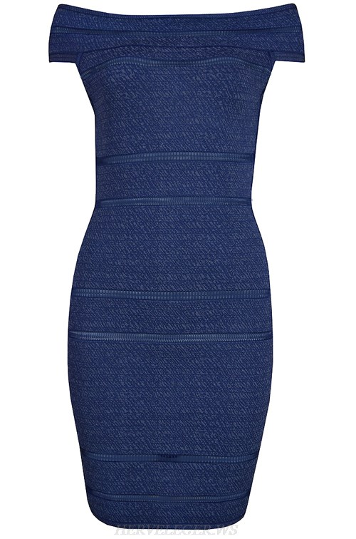 Herve Leger Blue Bardot Bandage Dress