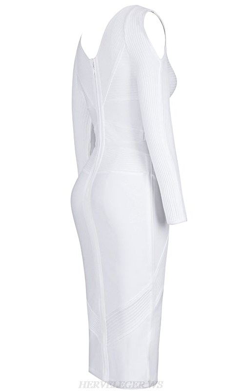 Herve Leger White Long Sleeve Cold Shoulder Ribbed Midi Bandage Dress