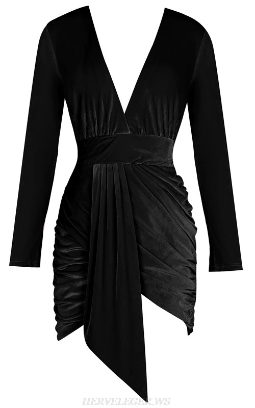 Herve Leger Black Long Sleeve Plunge Ruched Velvet Dress