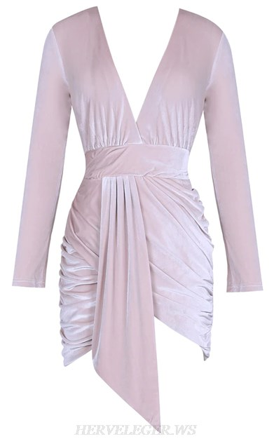 Herve Leger Nude Pink Long Sleeve Plunge Ruched Velvet Dress
