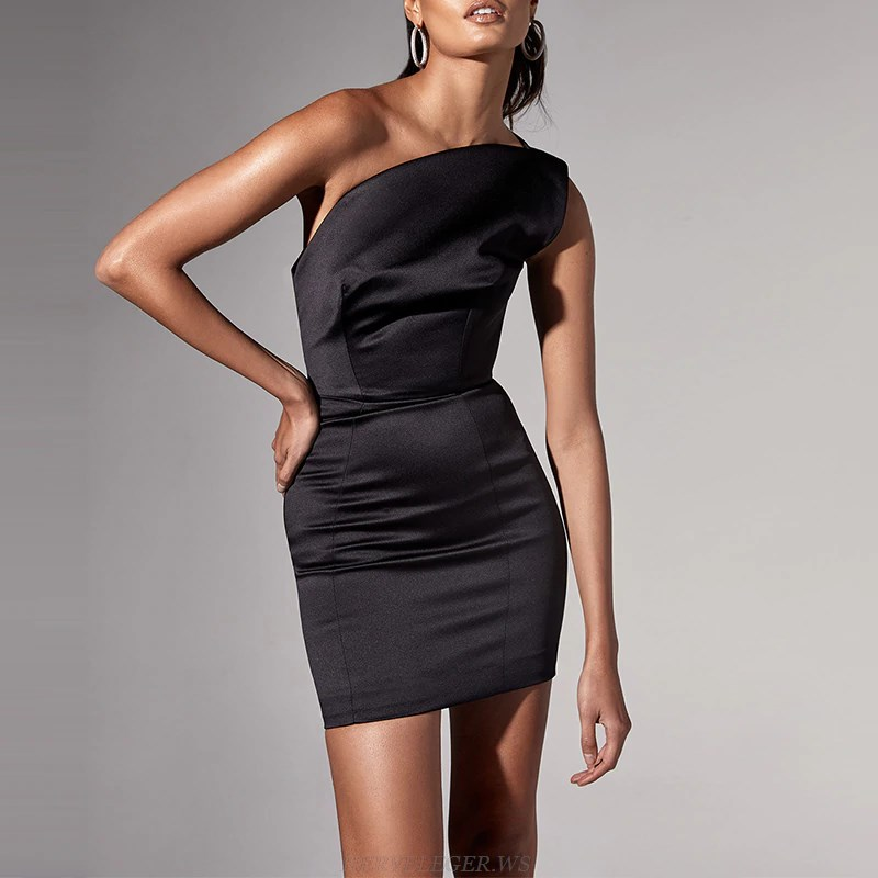 Herve Leger Black One Shoulder Satin Dress